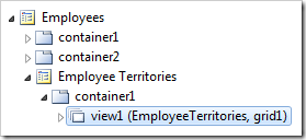 Employee Territories 'view1' data view on the Employee Territories page.