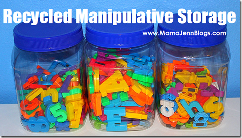 Recycled Storage Solution for Manipulatives