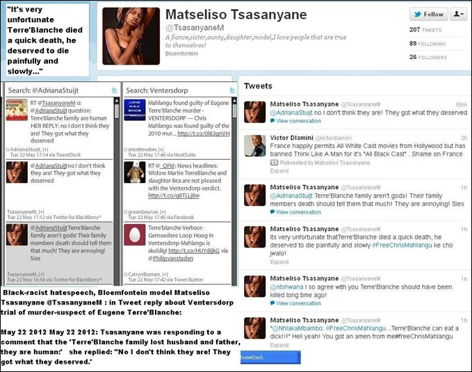 Black racist hatespeech by black model Matseliso Tsanyane Twitter Terreblanche family Twitter May 22 2012