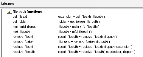 File path functions in the MapForce function library