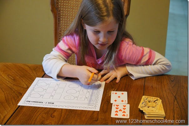 math worksheet for kids using a deck of cards so the equations change each time