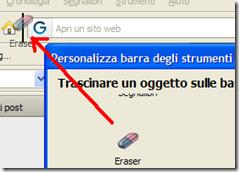Trascinare icona Eraser Personalizza barra degli strumenti