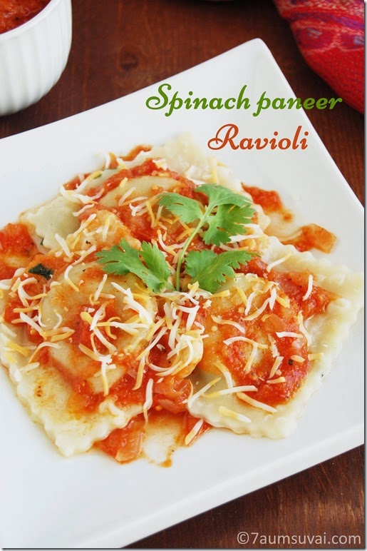Spinach paneer ravioli