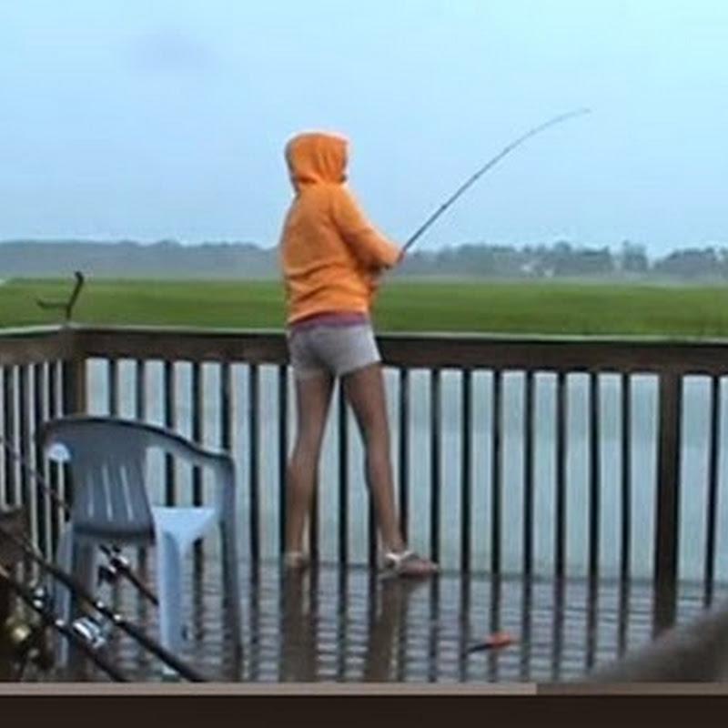 Καρχαρίας κλέβει ψάρια από το κορίτσι