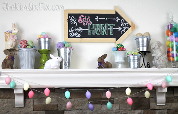 Easter Mantel Eggs and Bunnies