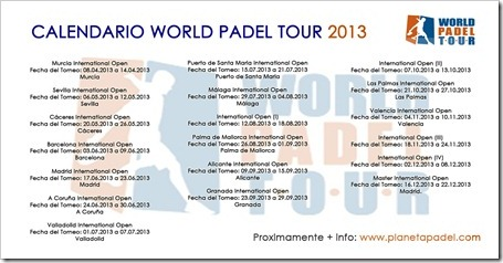 CALENDARIO WORLD PADEL TOUR 2013