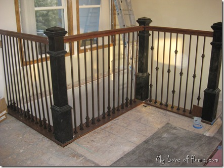 Metal stair spindles, black newel posts