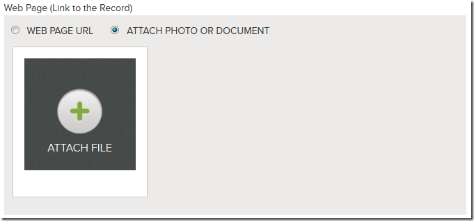 Select a web page url or attach a photo or document