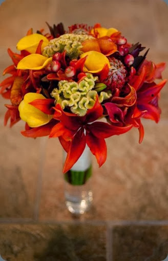 lilies, coxcomb, calla lilies, leucadendron, pin cushions and berries. rhonda patton weddings