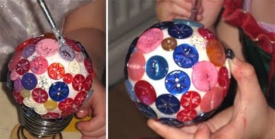Bolas de natal com botões
