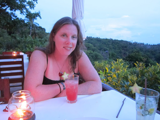 The birthday girl enjoying a beverage with the view at Lung Pae.