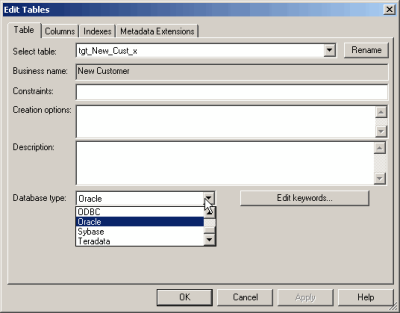 Informatica PowerCenter target Configuration