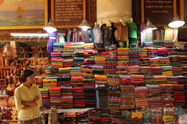 Longyi Shop at Bago, Burma