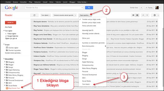 Google Reader Kalasör Oluşturma