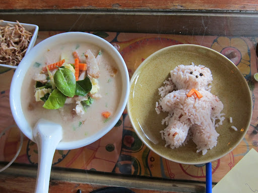 Tom Kha Gai (chicken and coconut soup) with teddy-bear shaped rice.