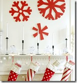 red and white Christmas mantel1