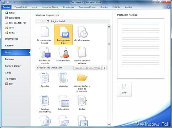 Microsoft Word também oferece opção para escrever postagens