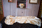 Evan's great great grandmother's wedding gown and shoes were on display inside the house.