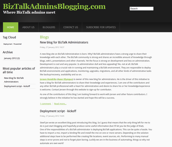 A new blog for BizTalk Administrators