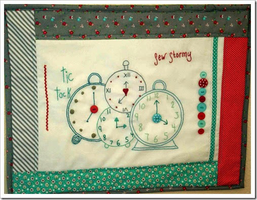 Finished clock embroidery
