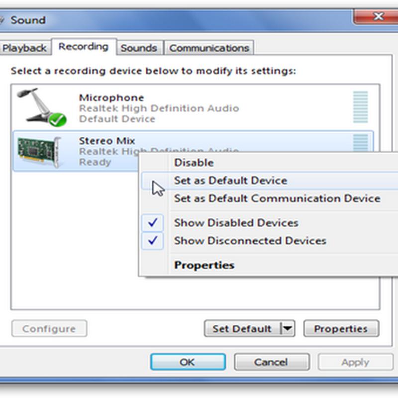 ตั้งค่า stereo mix ให้สามารถบันทึกเสียงในเครื่องคอม win7