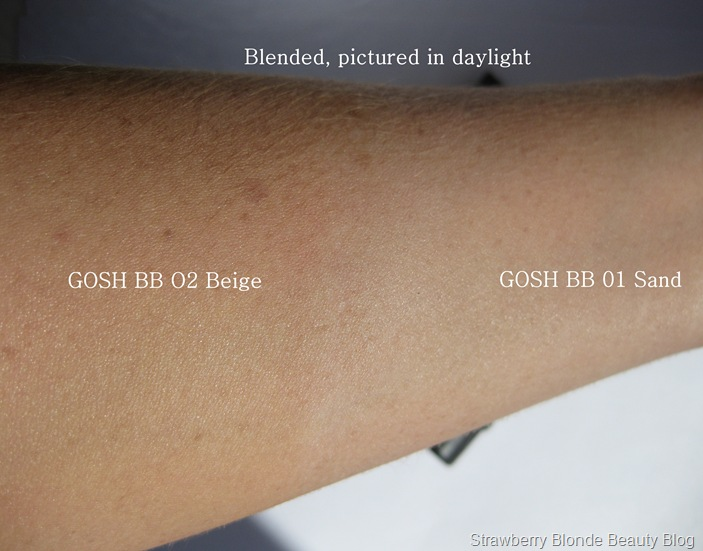 GOSH BB Cream SAND 01 BEIGE 02 Swatches (4)