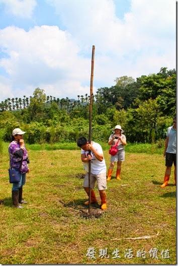 南投頭社活盆地。看這位老兄正在使出吃奶的力氣,把一跟兩人高的竹竿慢慢的沒入草地內。