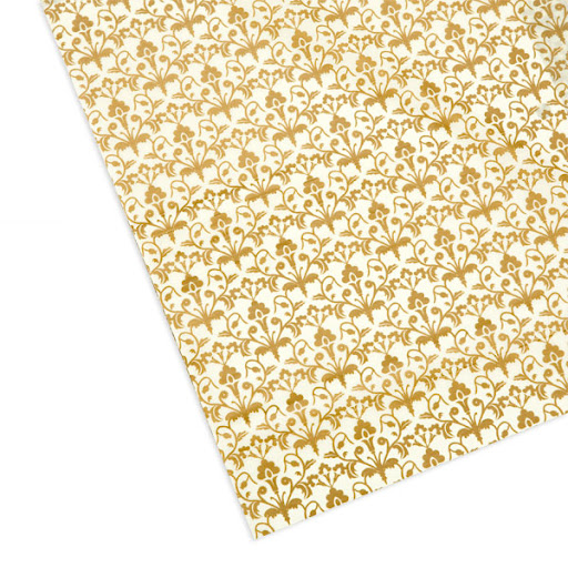 This is the perfect tissue paper to use in dessert tins (like the one pictured before). From The Container Store, this Golden Damask Tissue has an elegant print.