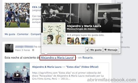 Etiquetar una página en Facebook