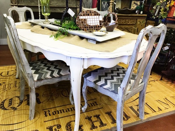 White Grey Chevron Table