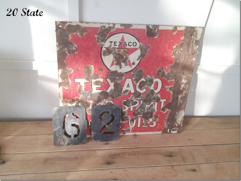tin sign and stencils