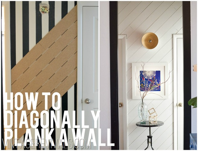 How To Diagonally Plank A Wall @ Vintage Revivals