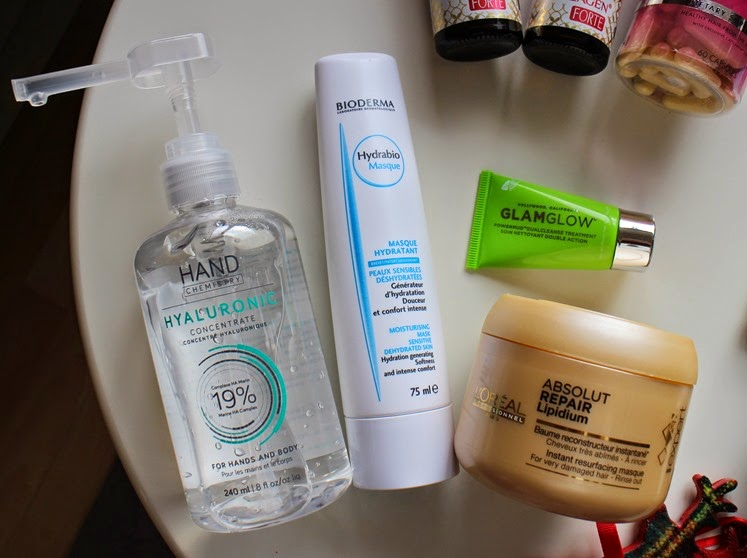Hand-Chemistry-Hyaluronic-Concentrate,Bioderma-Hydrabio-Mask,GlamGlow-PowerMud, LOreal-Absolute-Repair-Lipidium