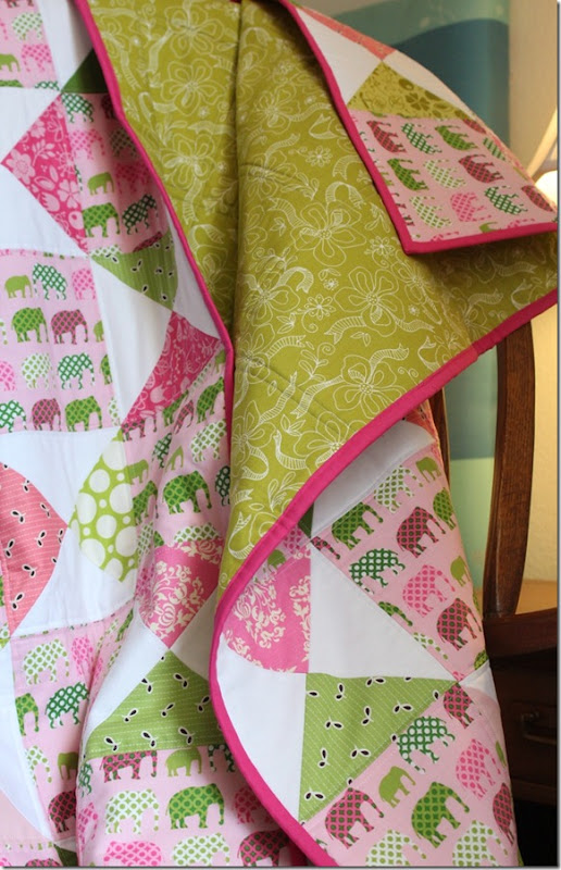 Elephant Quilt with Green backing