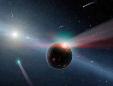ilustração da chuva de cometas próxima de estrela