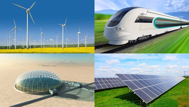 Illustration of a wind farm, a high-speed train, a domed colony in the desert, and a PV solar power plant. Sources say they have been misled into thinking America was on the verge of an exciting and bold new technological frontier. Graphic: The Onion