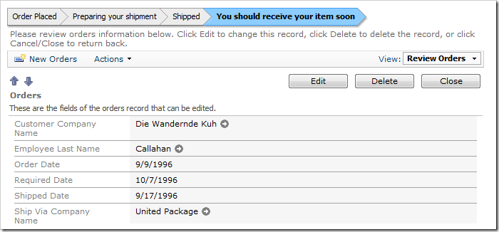 The status bar indicates that the order has been recently shipped.