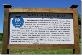 Battle of Front Royal historical sign north of Front Royal