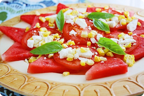 Watermelon Basil Salad with Feta & Corn – Pair watermelon with fresh basil, corn, feta and tomatoes for a crisp, cool salad! | thecomfortofcooking.com