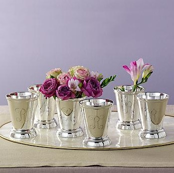 Beautiful julep cups can hold more than drinks. Arrange them on a table with flowers for a Derby centerpiece. (ross-simons.com)