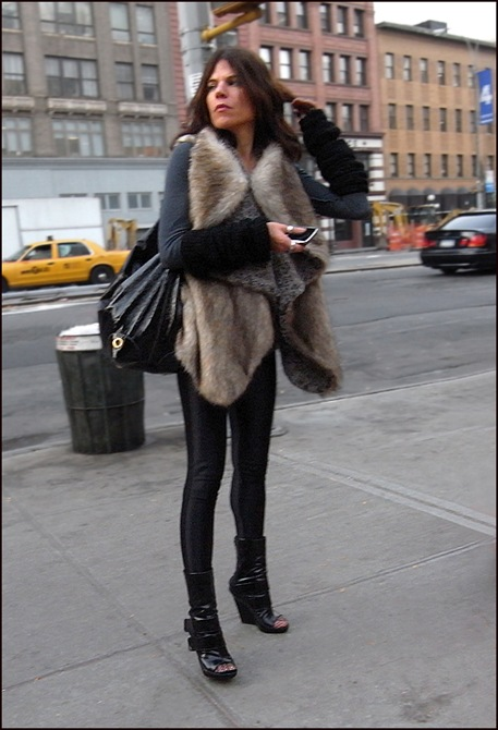 w fur vest tights peakaboo toe boots with fishnets ol