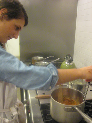 Our freelance recipe tester, Jesse Damuck, cooking sugar to make salted caramels.