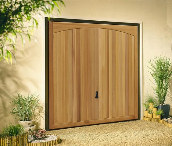 Picture of Addlington Cedar timber garage door on home