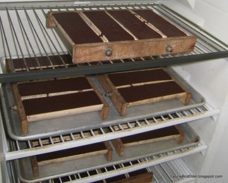 Cacao molds in refrigerator