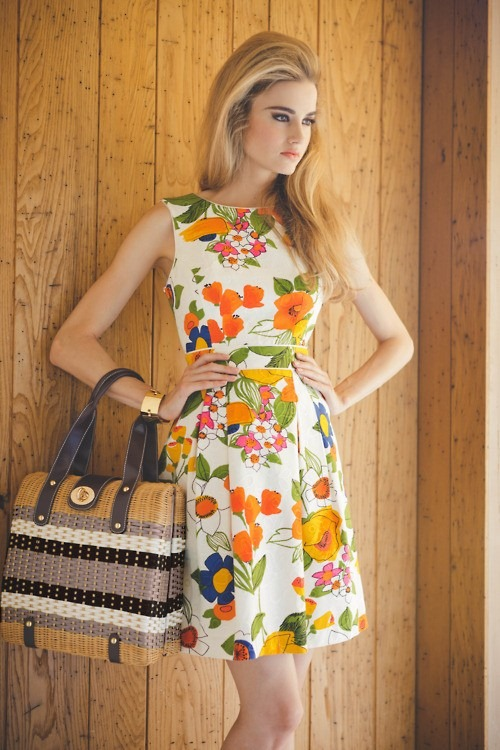 orangey floral dress
