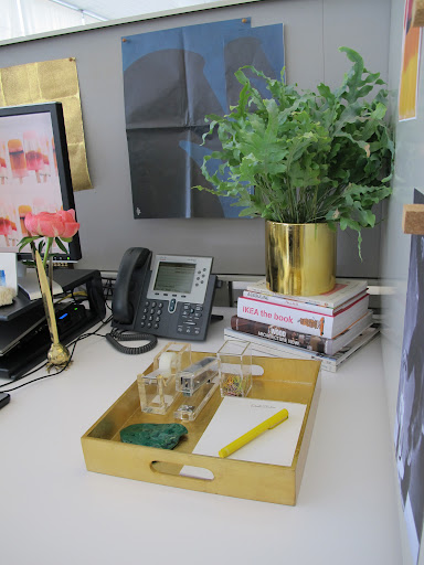 I am drawn to opposites. I love the way the lucite stapler and tape dispenser look in the gilded tray.