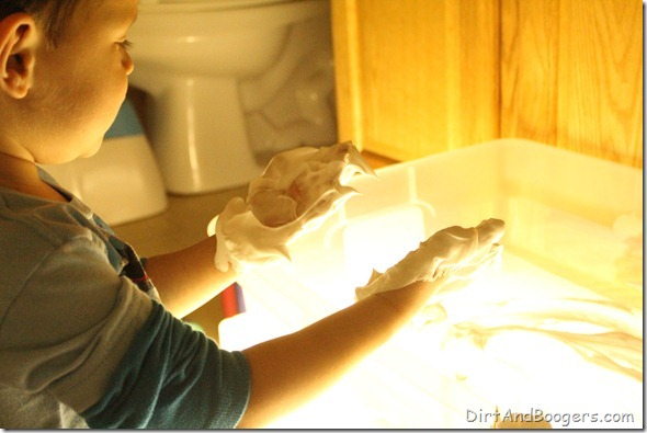 shaving cream, light box, messy play