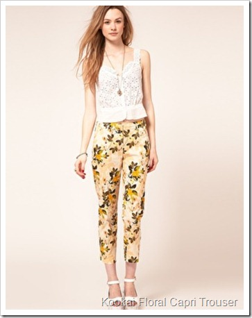 Kookai Floral Capri Trouser