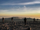 First light on the summit of Semeru - photographers rush to take a picture of Bromo erupting (Andy Dean, July 2011