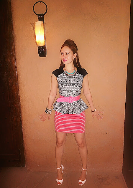 Black White Aztec Print Peplum Top FOREVER NEW  Peach Horizontal Stripe Skirt FOREVER NEW